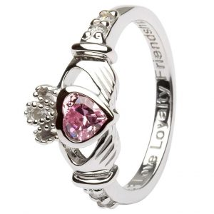 Shanore Sterling Silver October Birthstone Claddagh Ring