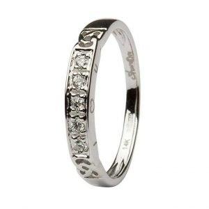 14K White Gold Celtic I Love You Ring