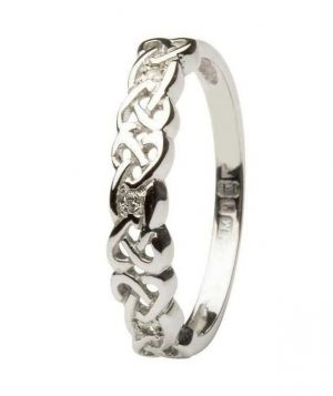 14K White Gold Celtic Diamond Eternity Ring