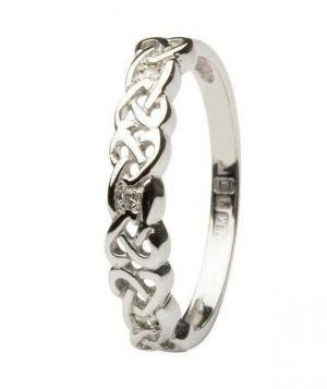 14K White Gold Celtic Diamond Eternity Ring