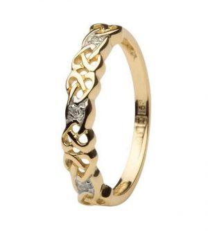 14K Gold Celtic Diamond Ring