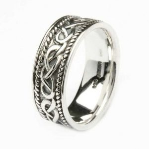 Mens Silver Celtic Ring Band