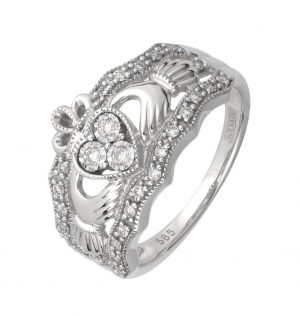 14k White Gold Diamond Claddagh Band
