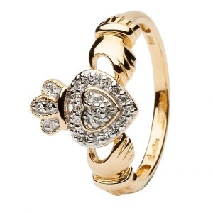 Women's 14K Gold Diamond Claddagh Ring