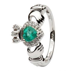 Women's 14K White Gold Emerald Diamond Ring