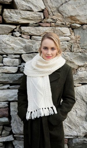 Handknit Aran Wool Scarf