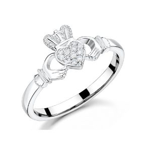 Ladies 9K White Gold Diamond Claddagh Ring
