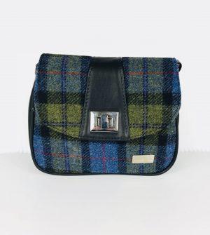 Sarah Mucros Shoulder Bag Green Check Tweed