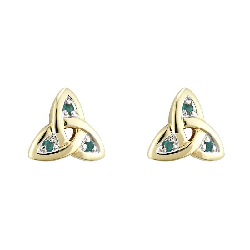 5b91f27a6 Solvar 14K Gold Emerald Trinity Knot Earrings s3006 - Skellig Gift Store