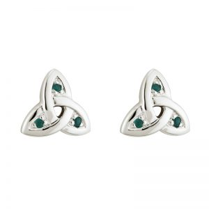14k White Gold Emerald Trinity Knot Stud Earrings