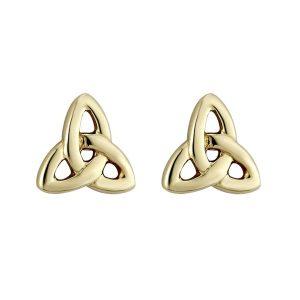 14k Gold Tiny Trinity Knot Stud Earrings