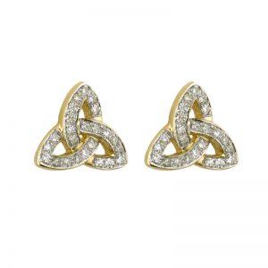 14k Diamond Trinity Knot Earrings
