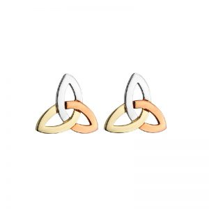 14k 3 Colour Gold Trinity Knot Earrings