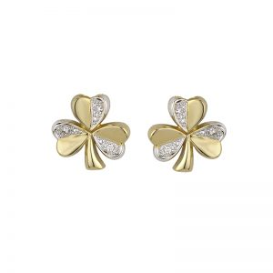 14k Shamrock Diamond Earrings Studs Two Tone