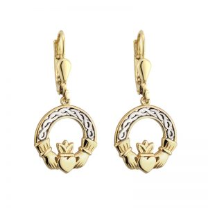 10k Gold Two Tone Claddagh Drop Earrings