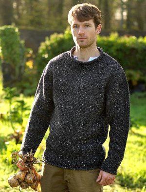 Roll Neck Fishermans Sweater Pure Irish Wool