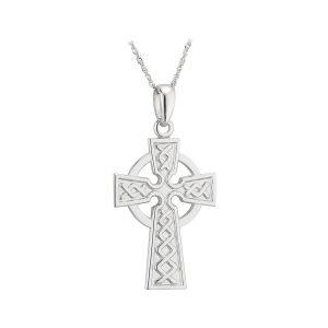 14k White Gold Celtic Cross