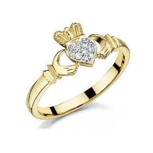 Women's 9K Gold Diamond Claddagh Ring