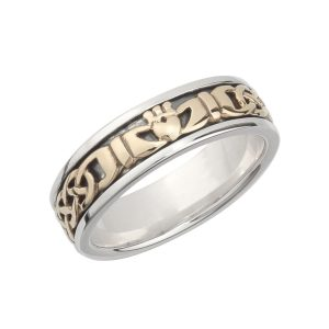 10k Gold Silver Ladies Claddagh Wedding Band
