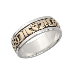 Mens Claddagh 10k Gold Sterling Silver Band