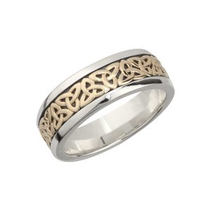 Mens Celtic Knot 10k Gold Sterling Silver Band