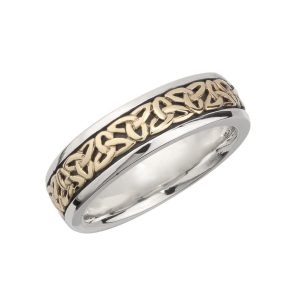 10k Gold Silver Ladies Trinity Wedding Band