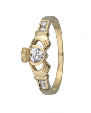 9k Gold Crystal Claddagh Ring s2368