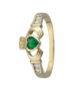 9k Gold Green Crystal Claddagh Ring