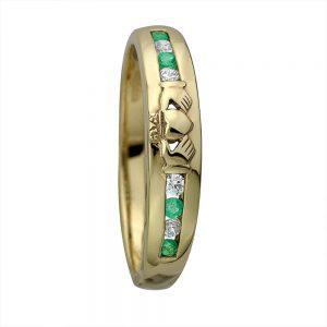 14K Gold Diamond Emerald Claddagh Ring