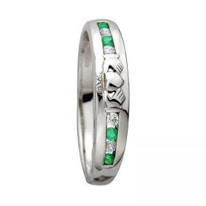 14K White Gold Diamond Emerald Claddagh Ring