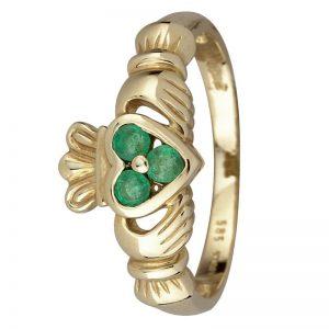 14K Gold Genuine Emerald Claddagh Ring