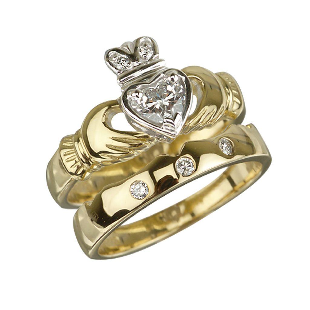 18k Gold Diamond Claddagh Engagement Ring Bridal Set