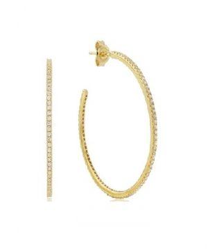 Waterford Crystal Sterling Silver Yellow Hoop Earrings