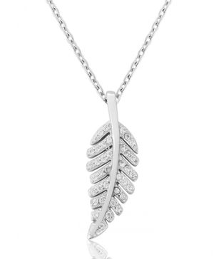 Waterford Crystal Sterling Silver Leaf Pendant
