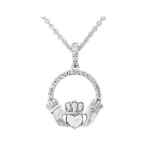 Waterford Crystal Sterling Silver Claddagh Pendant