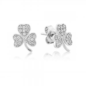 Waterford Crystal Sterling Silver Shamrock Stud Earrings