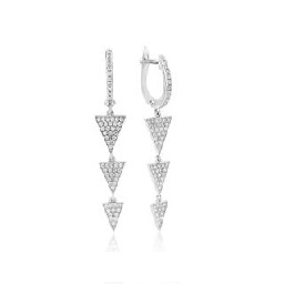 Waterford Crystal Sterling Silver Three Triangle Drop Earrings