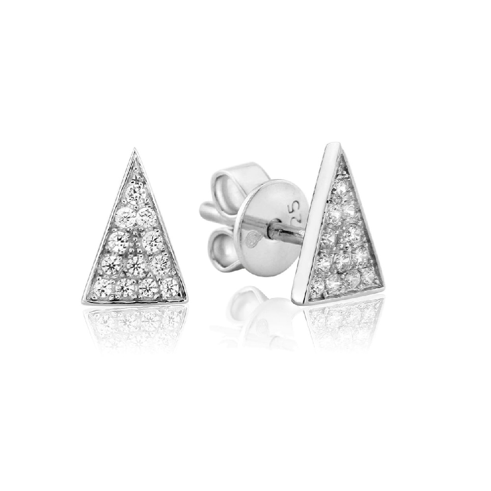 572b4f6dc Waterford Crystal Sterling Silver Triangle Stud Earrings