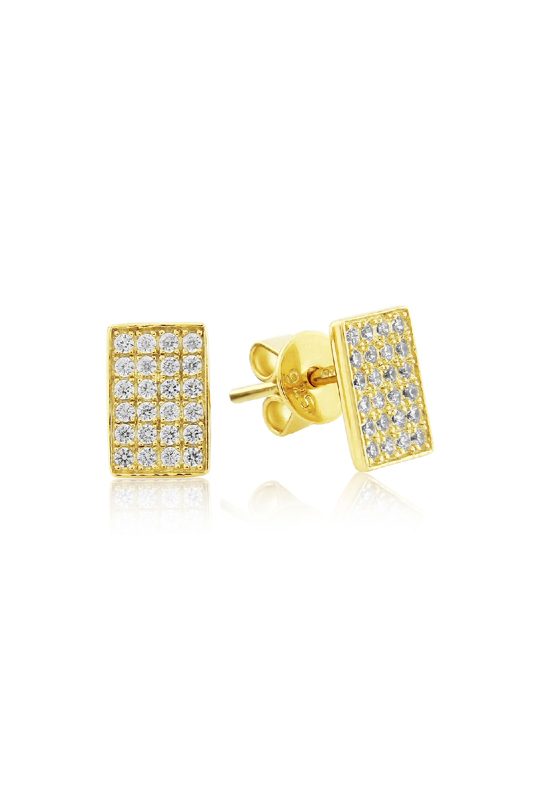 674ded641 Waterford Crystal Sterling Silver Yellow Rectangle Stud Earrings
