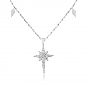 Waterford Crystal Sterling Silver Large Ornate Star Pendant
