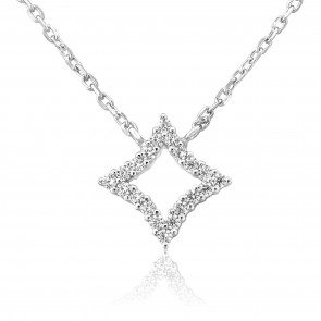 Waterford Crystal Sterling Silver Open Diamond Shape Pendant