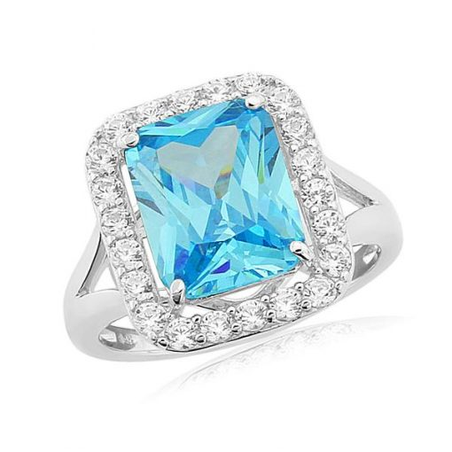 Waterford Crystal Sterling Silver Blue Topaz Ring