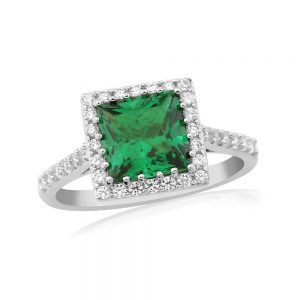Waterford Crystal Sterling Silver Emerald Ring