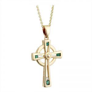 Solvar 10k Gold Crystal & Emerald Celtic Cross Pendant