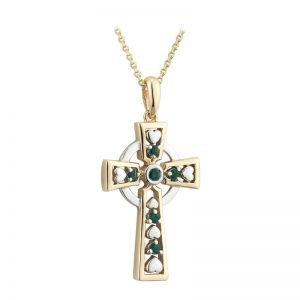 Solvar 14k Gold & Emerald Celtic Heart Cross Pendant