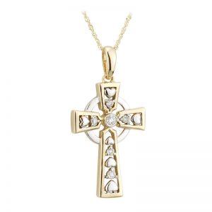 Solvar 14k Gold Diamond Celtic Cross Pendant