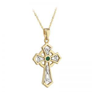 Solvar 14k Gold Green Emerald Celtic High Cross