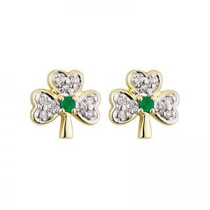 Solvar 14k Gold Diamond & Emerald Shamrock Stud Earrings