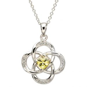 Sterling Silver August Birthstone Celtic Necklace