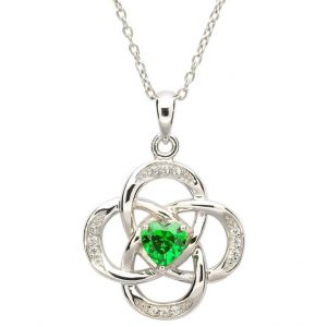 May Birthstone Celtic Necklace